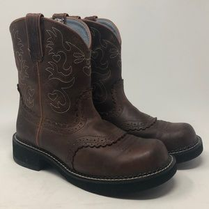 ARIAT FAT BABY BOOTS BROWN & TEAL SIZE 9.5